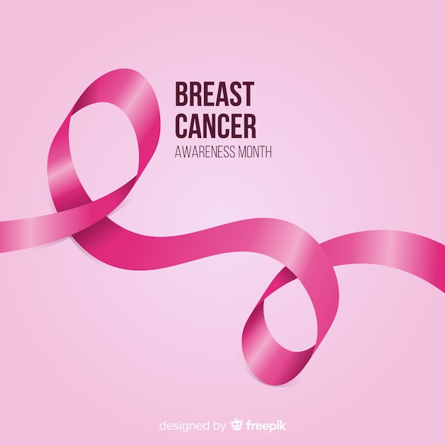 Breast cancer awareness with realistic pink ribbon Free Vector