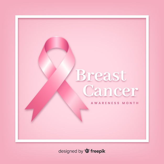 Breast cancer awareness with realistic ribbon Free Vector