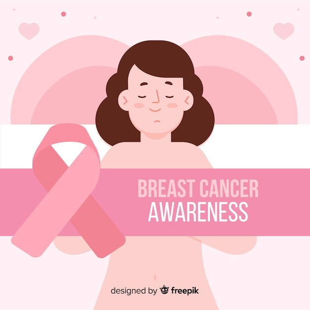 Breast cancer awareness with ribbon flat design Free Vector
