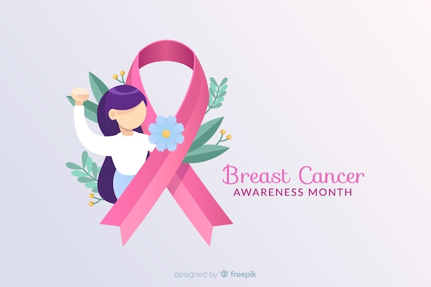 Breast cancer awareness with ribbon and illustration Free Vector