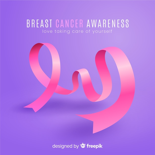 Breast cancer awareness with ribbon Free Vector