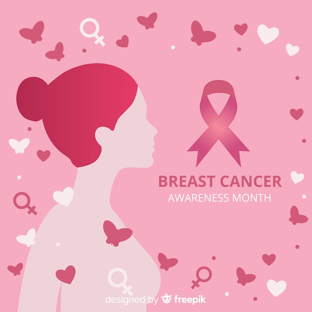Breast cancer awareness with woman and ribbon Free Vector
