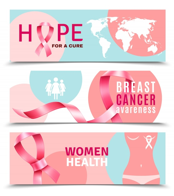 Breast cancer banners Free Vector