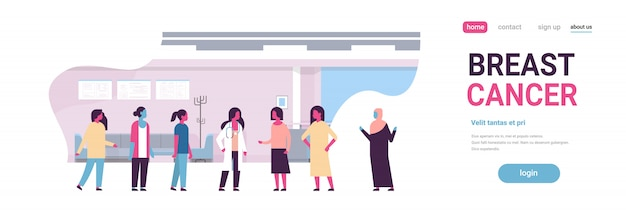 Breast cancer day mix race female doctor women consultation banner Premium Vector