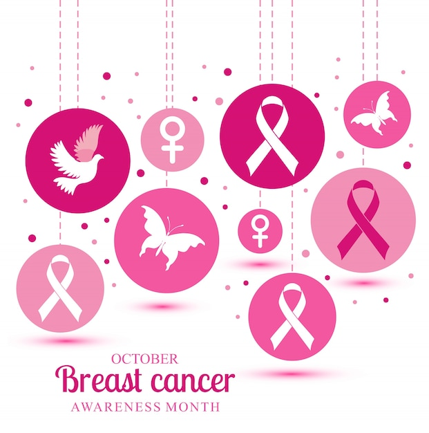 Breast cancer illustration Free Vector