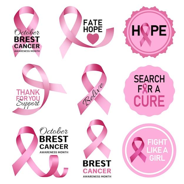 Breast cancer logo set Premium Vector