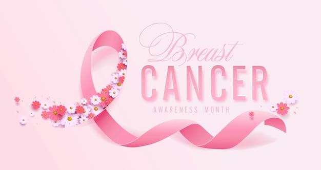 Октябрь месяц осведомленности о раке груди розовая лента и цветочный фон Premium векторы