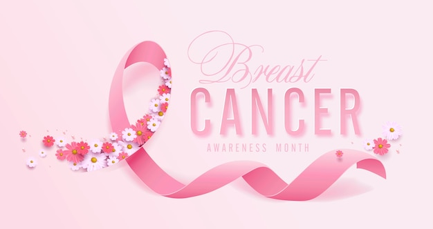 Breast cancer october awareness month pink ribbon and flower background Premium Vector
