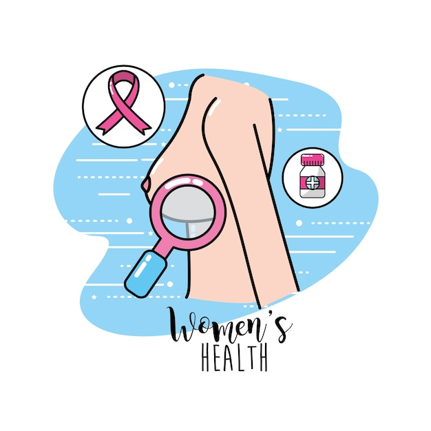 Breast cancer with medical treatment to care the body Premium Vector