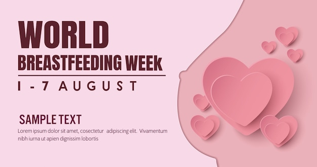 Breastfeeding Banner Campaign For Mother Feeding A Baby With Breast With Nature Premium Vector
