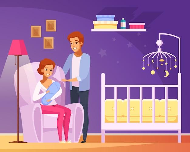 Breastfeeding cartoon composition Free Vector