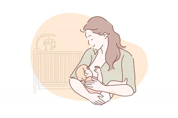 Breastfeeding, motherhood, childhood concept. Premium Vector