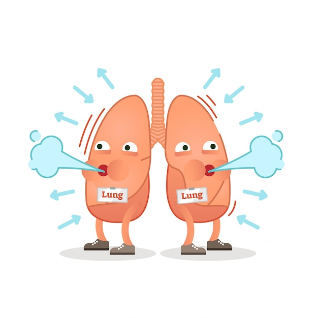 Breathing lungs character vector illustration Premium Vector