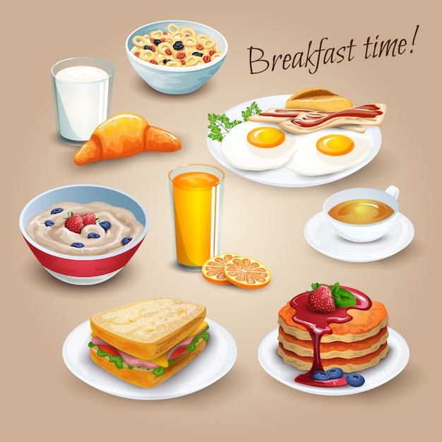 Brekfast time realistic pictograms poster Free Vector