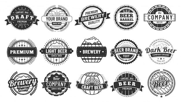 Brewery badge. draft beer barrel emblem, retro circle badges and quality emblems vintage hipster logo stamps  set Premium Vector