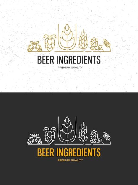 Этикетки пивоварни пивоварни с логотипами крафтового пива, эмблемы для пивоварни, бара, паба, пивоваренной компании, пивоварни, таверн на черном Бесплатные векторы