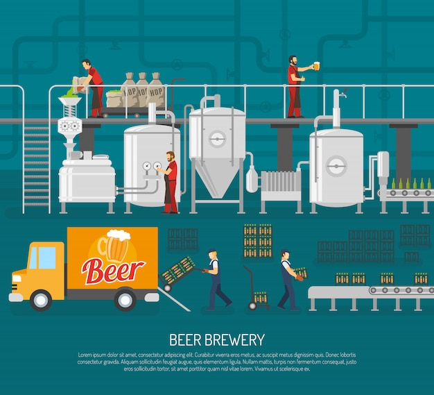 Brewery and beer illustration Free Vector