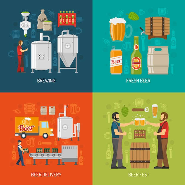 Brewery concept icons set Free Vector
