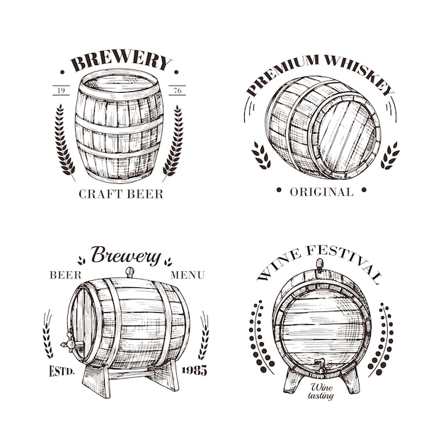 Brewery emblem. barrel of beer and wine, whiskey and brandy sketch  vintage labels with wooden cask and typographic Premium Vector