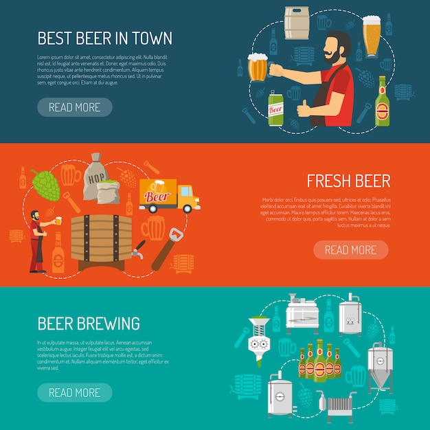 Brewery horizontal banners set Free Vector
