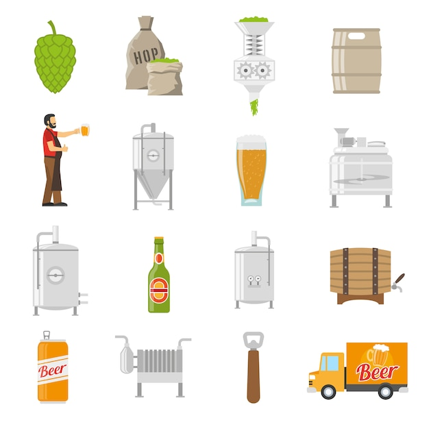 Brewery icons set Free Vector