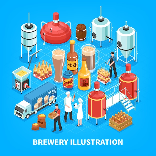 Brewery isometric composition Free Vector