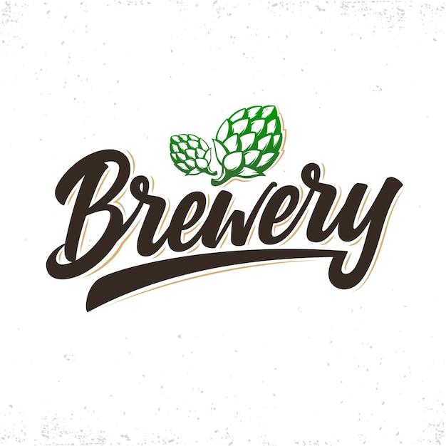 Логотип пивоварни. рукописные надписи с шишками хмеля. Premium векторы