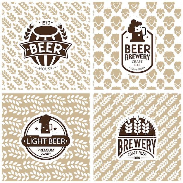 Brewery logos and emblems design. Free Vector