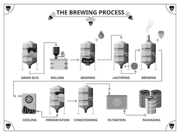 Modello di infografica del processo di produzione del birrificio Vettore gratuito