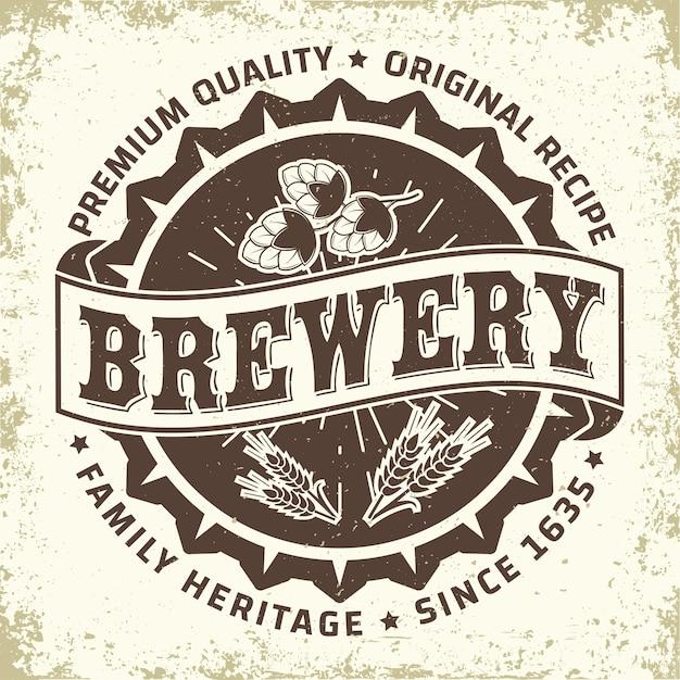 Brewery vintage logo design Premium Vector