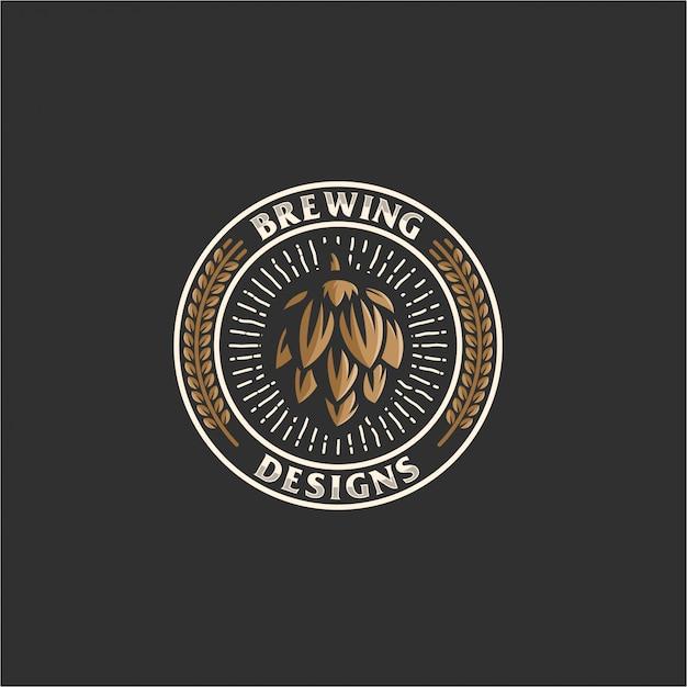 Brewing emblem logo Premium Vector