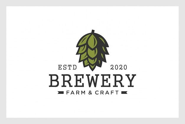 Пивоваренный дизайн логотипа в винтажном стиле Premium векторы