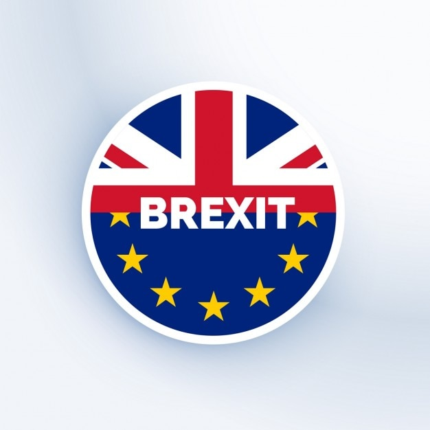 Brexit badge with uk and eu flag Free Vector