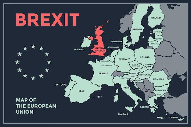 Brexit。国名が記載されたeuのポスターマップ。ビジネス、経済、政治、eu離脱、地理のテーマで、ウェブとポリグラフィーのeuの地図を印刷します。 Premiumベクター