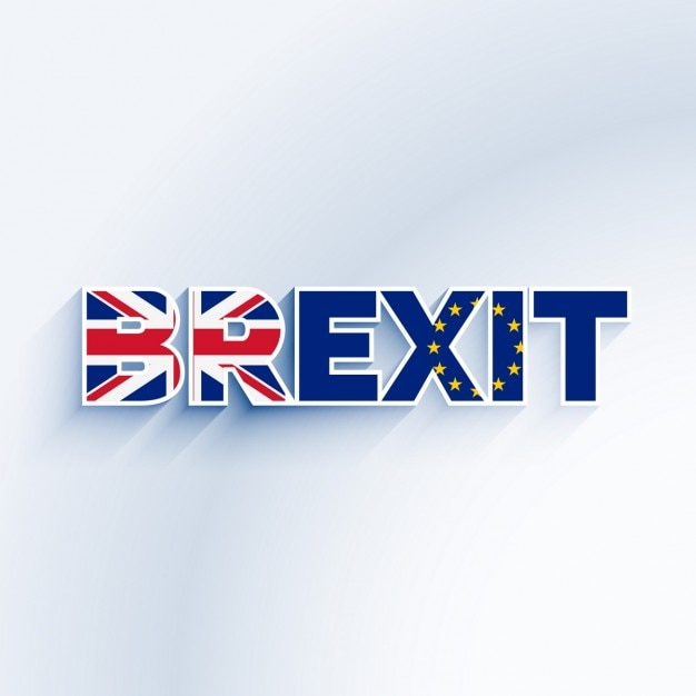 Brexit text with united kingdom and eu flag Free Vector