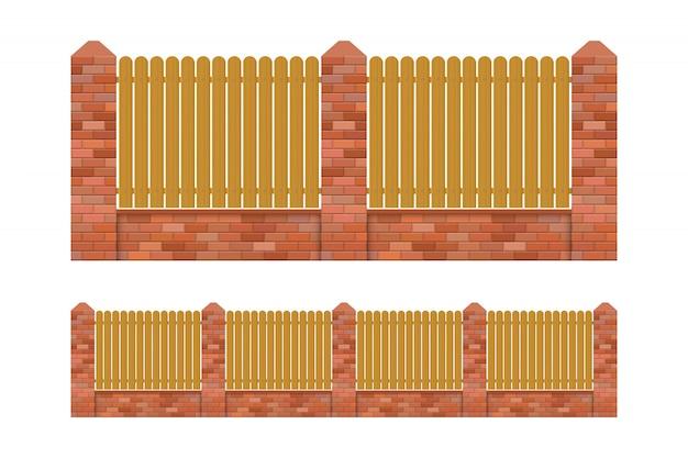 白い背景で隔離のレンガと木の塀の図 Premiumベクター