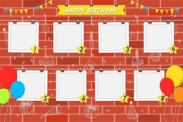 벽돌 배경 평면 디자인 생일 콜라주 프레임 무료 벡터