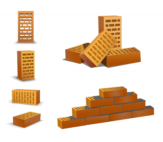 Brick different foreshortening, top and front. orenge bricks on white background. ceramic blocks from a new development in the construction sector. brick wall Premium Vector