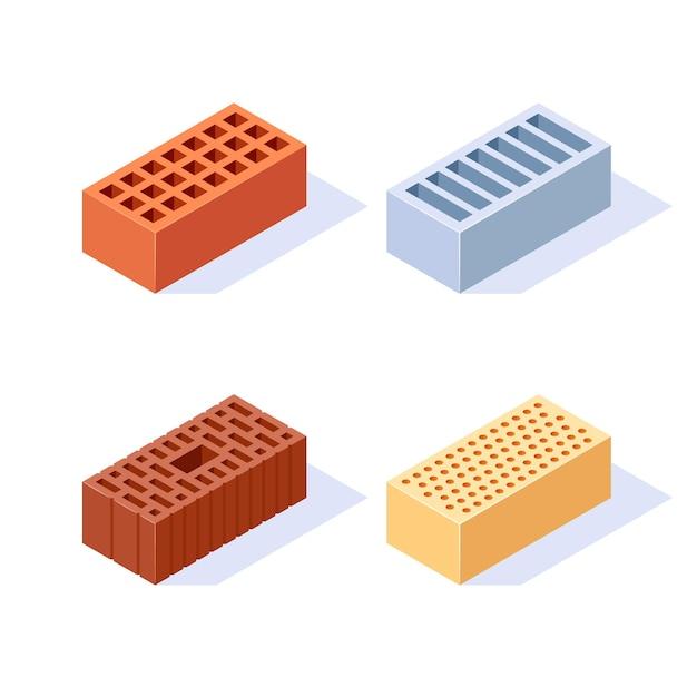フラットスタイルの図の3d建設ブロックのレンガアイソメトリックアイコンセット Premiumベクター