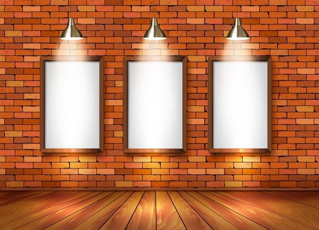 Кирпичный выставочный зал с точечным освещением. Premium векторы