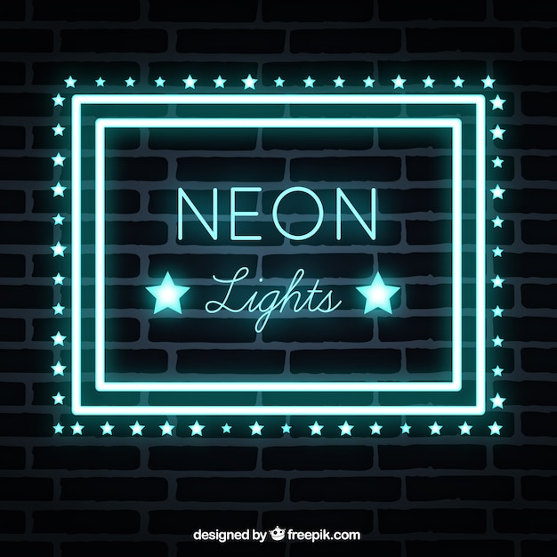 Neon Lights For Wall : Brick wall background with neon lights sign Vector Free Download