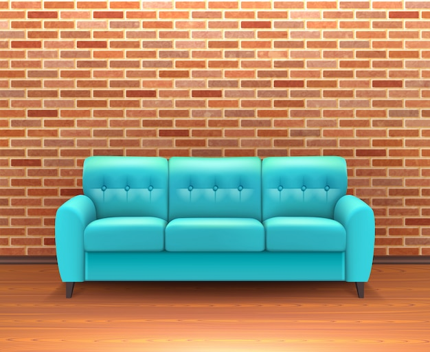 Brick wall interior with sofa realistic Free Vector