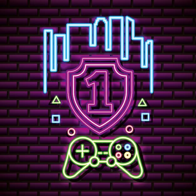 Номер один и управление видеоиграми, brick wall, neon style Бесплатные векторы