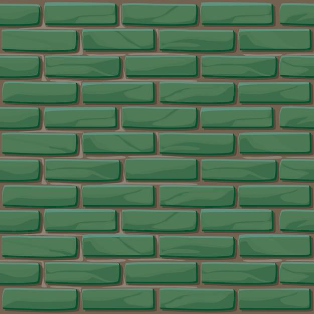 Бесшовные текстуры кирпичной стены. иллюстрация каменная стена. бесшовные модели. зеленая кирпичная стена фон Premium векторы