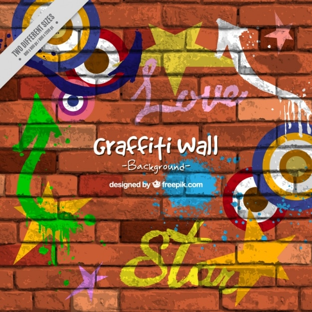 Brick wall with graffitis Free Vector