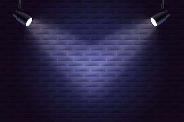 Кирпичная стена с точечными светильниками в стиле фона Premium векторы