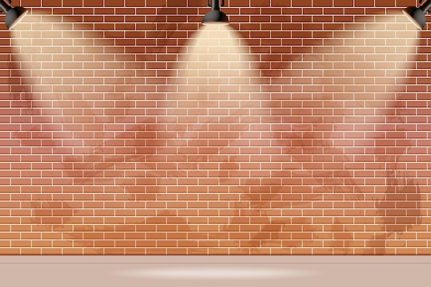 Brick wall with spot lights background Premium Vector