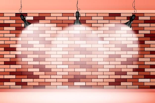 Кирпичная стена с фоном прожекторов Бесплатные векторы
