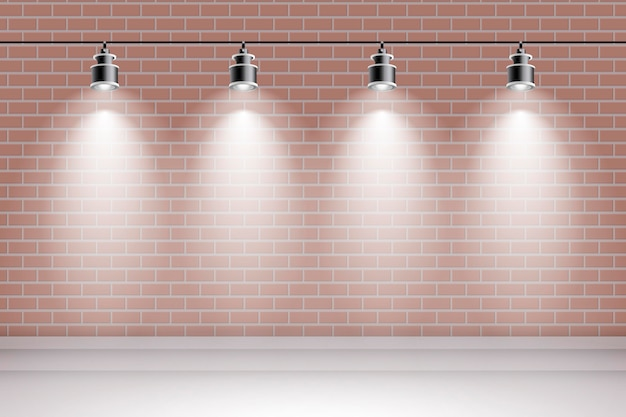 Brick wall with spot lights background Free Vector