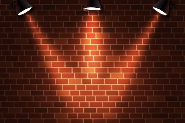 Кирпичная стена с фоном точечных огней Premium векторы